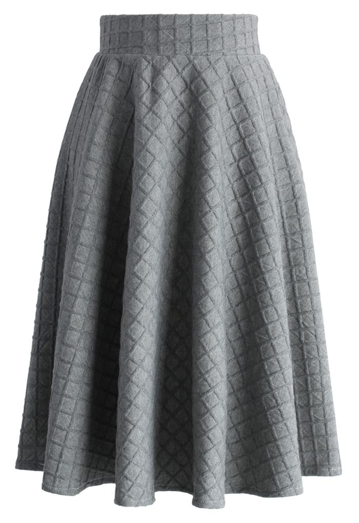 Embossed Gingham A-line Skirt in Grey - New Arrivals - Retro, Indie and Unique Fashion: