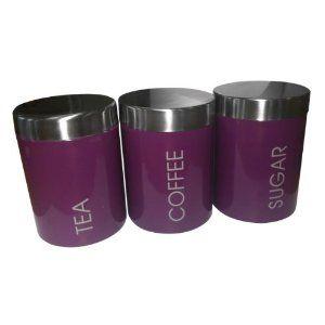 Set Of 3 Purple Tea Coffee Sugar Storage Canisters Kitchen Accessories
