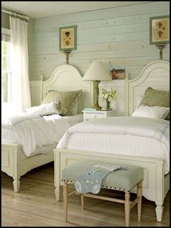 looks like a lake house to me!: Guestroom, Beach House, Idea, Guest Bedrooms, Dream, Twin Beds, Guest Rooms, Wood Wall