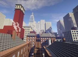 """""""Tate worlds"""" - Videogame in tile Minecraft per la Tate Gallery di Londra, 2014: Mappa Minecraft ispirata al dipinto di Christopher Richard Wynne Nevinson, """"The Soul of the Soulless City"""" ('New York - an Abstraction'), 1920, olio su tela"""