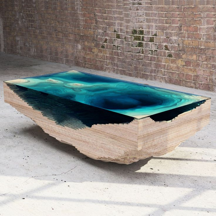<> Abyss Table by Christopher Duffy - Layered wood & glass