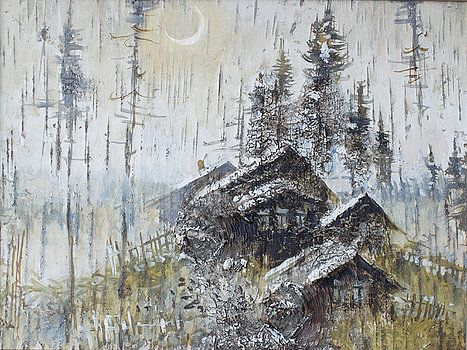 Ilya Kondrashov - Remote Russian Village in Winter Night  #RussianArtistsNewWave #OriginalArtForSale  #OriginalPainting #IlyaKondrashov #Village #PaintingonBirchBark #Russia #Painting #HomeDecor
