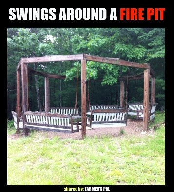 Swings around a fire pit or just the structure to hang outdoor lights!!! Wow!