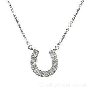 Silver CZ Horseshoe Shoe Necklace #Horseshoe #SilverJewellery