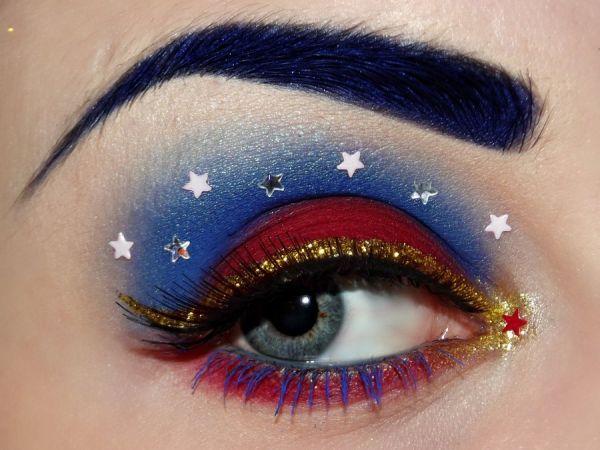this wonder woman inspired eye makeup is pretty intense.