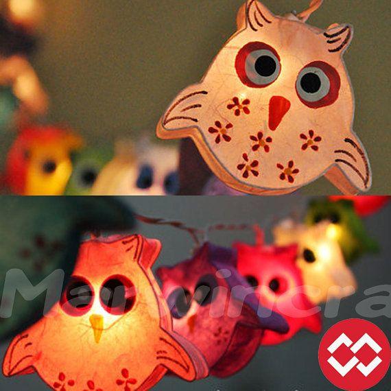 20 OWL LANTERN Paper Handmade Fairy String Lights Party Patio Wedding Floor Table or Hanging Gift Home Decor Children Bedroom