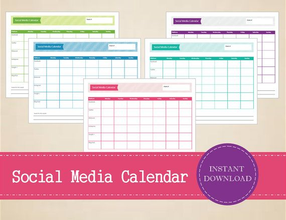 Colorful Social Media Planner  Weekly Social by MBucherConsulting