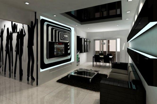 Siyah Beyaz Oturma Odası Duvar Stickerı
