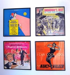 Framed vintage records as wall art.