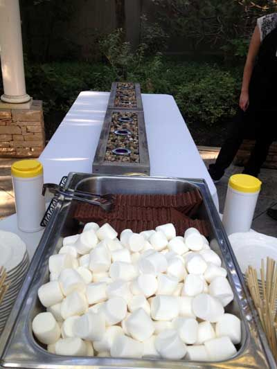 Setting Up For A Smores Add On Buffet This One Is Being Served Outdoors The Main Was Indoors Find Pin And More Wedding Reception Food