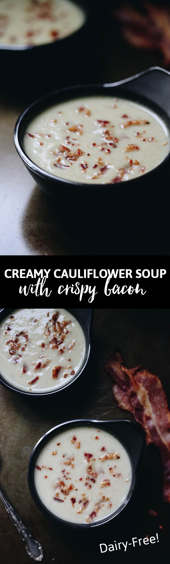 This Creamy Cauliflower Soup with Crispy Bacon is comfort food at its finest. But we've ditched the cream for the smooth sweetness of coconut milk, which pairs perfectly with the crunchy bacon bits sprinkled on top. This is not your average soup recipe!