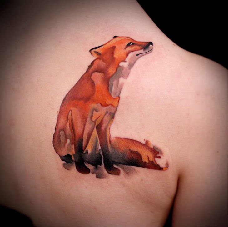 Watercolor Fox by Fabbe Persegani. http://tattooideas247.com/watercolor-fox/