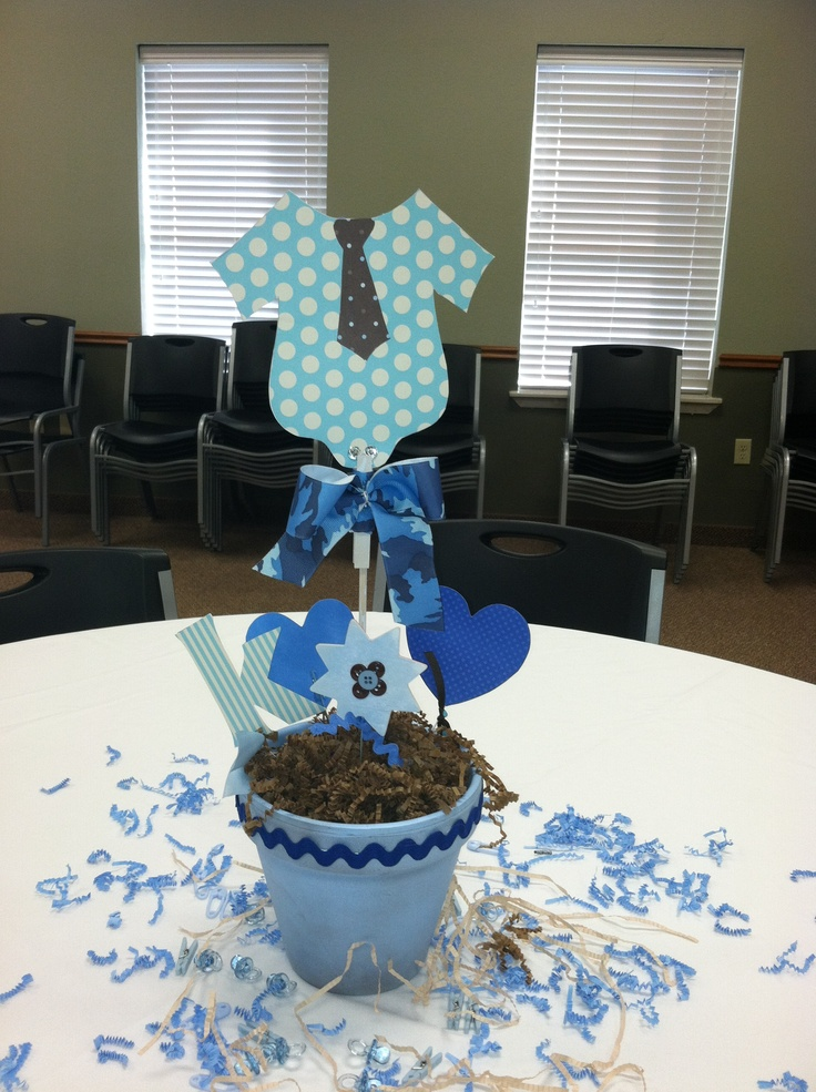 Baby shower centerpiece baby boy let 39 s party for Baby boy baby shower decoration ideas