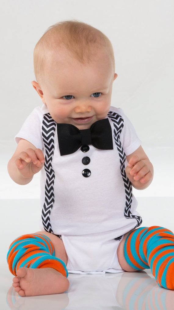 Baby Boy Clothes Infant Bow Tie Suspenders Black Bow
