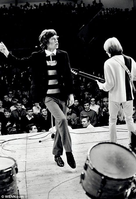 Bonis captures Mick Jagger and Brian Jones performing while on a U.S. tour
