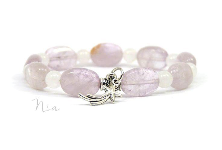 Amethyst+milky quartz bracelet  #niaásvány #niaékszer
