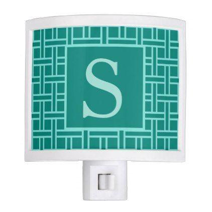 Popular Geometric Pattern Monogram Teal Night Light - chic gifts diy elegant gift ideas personalize