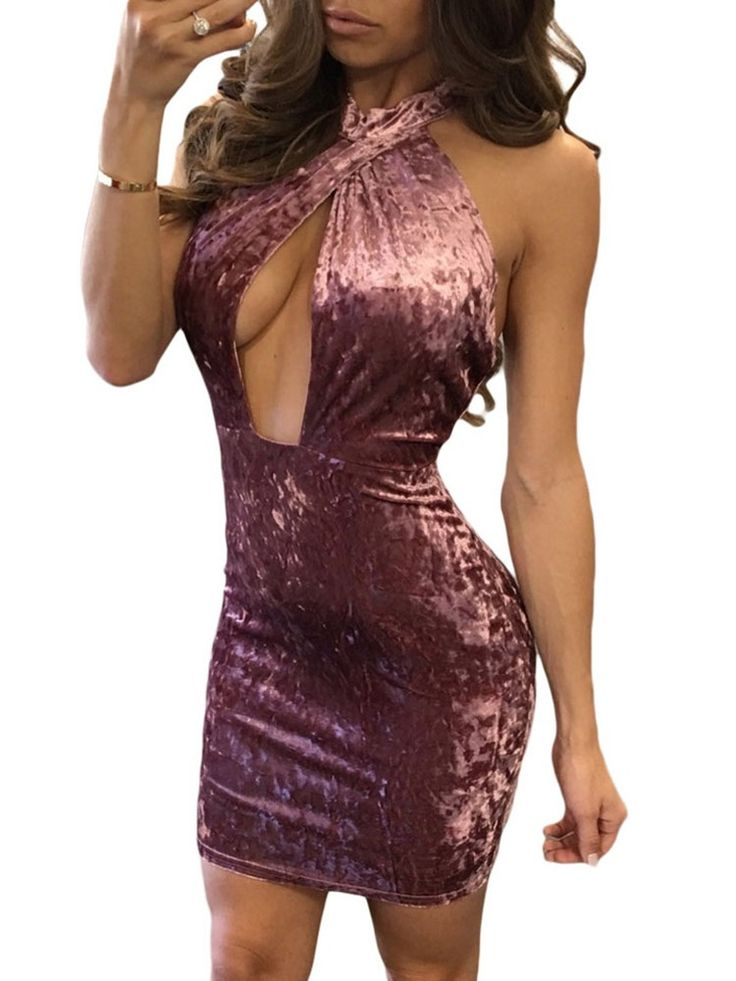 Women Sexy Halter Cutout Velvet Bodycon Dress