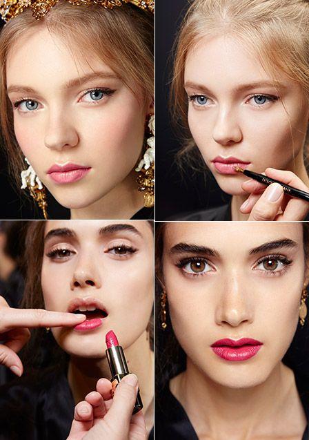 Hot to get the Look: Romantisches Make-up bei Dolce & Gabbana Die neue Fashion-Kollektion von Dolce & Gabbana ist eine Hommage an Italien. Dies zeigt auch das feminin-romantische Make-up der Models.