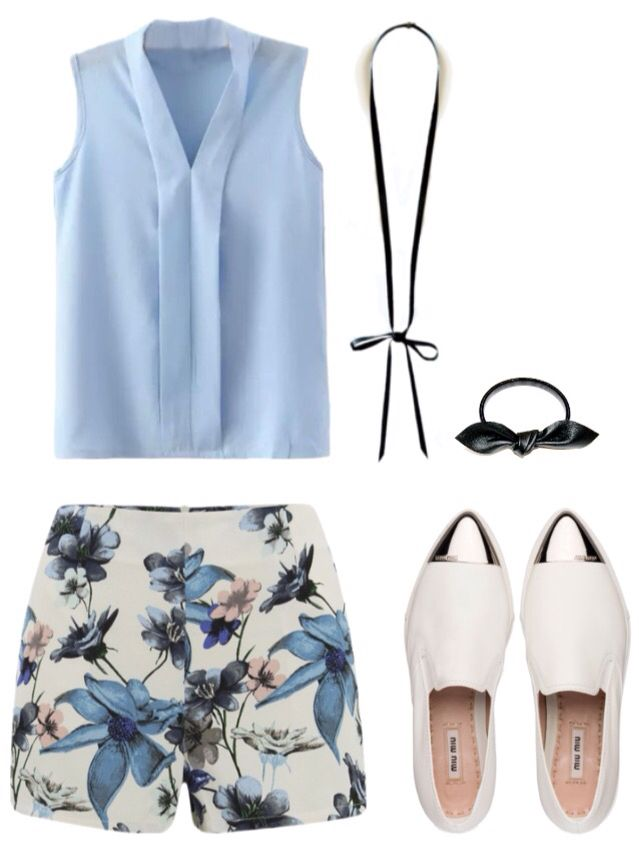 MODERN ROMANCE // summer loving // #miumiu #sneakers #floral #shorts #blue #blouse #leather #bow #necklace #bangle #zooki
