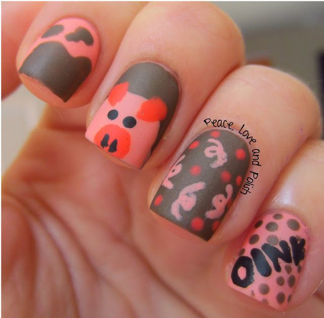 pig themed nail art