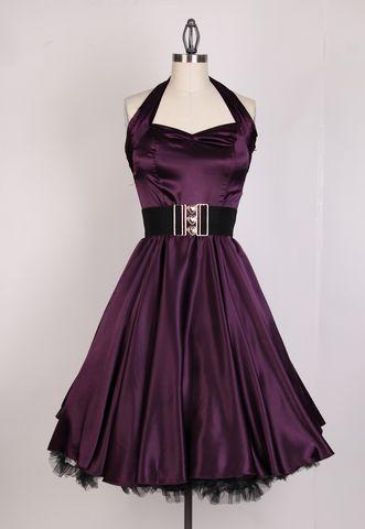 Vintage BRIGHT Halterneck Satin Swing Dress(Plum)