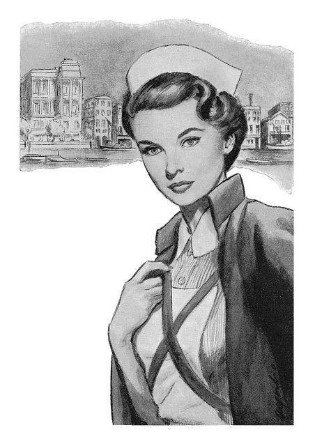1955 illustration of a nurse in uniform by Denis Alford. #vintage #1950s #nurses