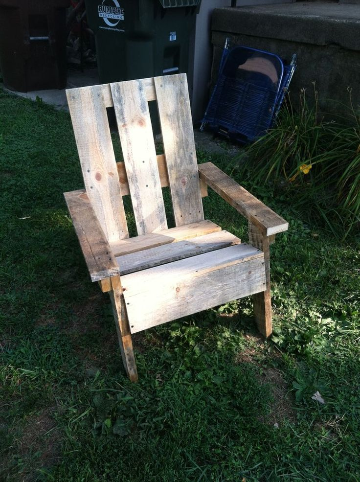 Adirondack Chair from old pallets  http://www.instructables.com/id/Pallet-Adirondack-Chair-1/?ALLSTEPS#