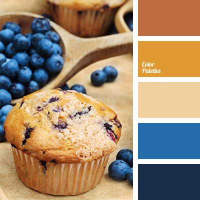 Rich dark blue and blue colours are combined with the colour of fresh pastries and brown colour. This combination can be used in the design of a kitchen, a cozy cafe or bakery. Interior of a large hall in the house also can be designed using brown tones for painting walls, and blue – for upholstery.