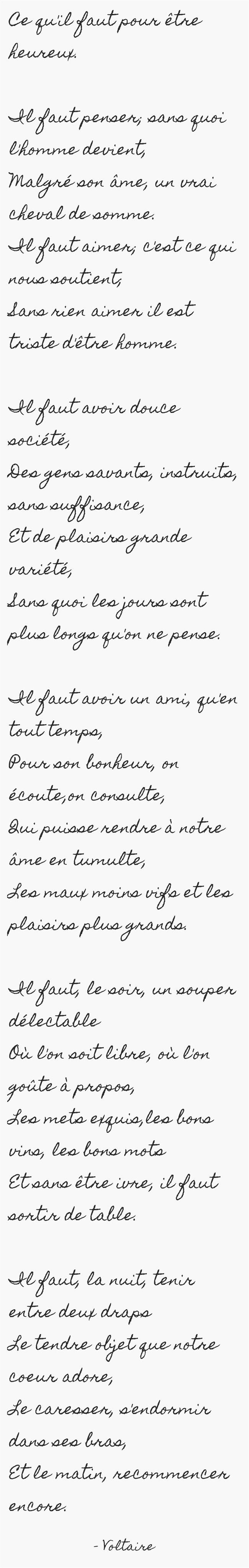 """Voltaire """"Ce qu'il faut pour être heureux"""""""