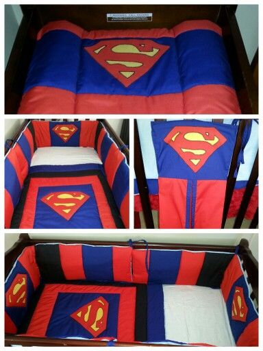 Superman cot set/ nursery set.  Cot quilt Cot bumper (2xhalf bumpers) Nappy stacker Change mat cover.