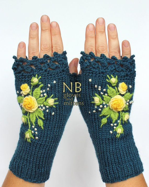 Knitted Fingerless Gloves, Turquoise, Yellow, Roses, Gloves & Mittens, Gift…