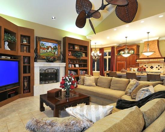 Large Dual Tropical Like Ceiling Fan No Light Media Room DesignLiving