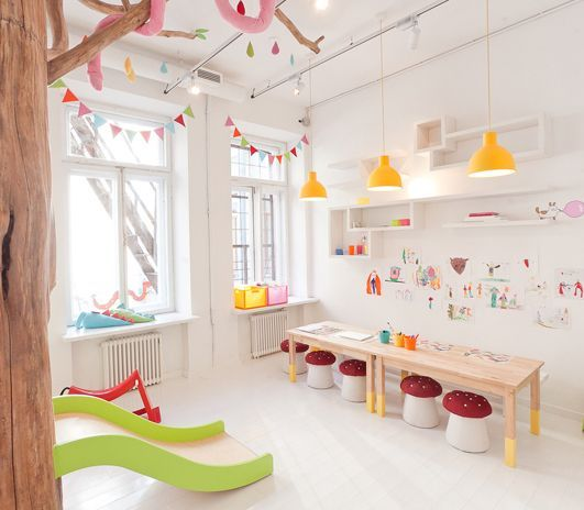 Superieur Brighty And Airy Kidsu0027 Playroom   Great Yellow Pendant Lights Hanging Over  The Low Desks