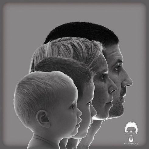Portrait de famille de profil
