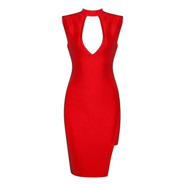 Posh Girl Red Hot Stunner Bandage Dress ($178) ❤ liked on Polyvore featuring dresses, sexy bandage dresses, bandage dress, red plunging neckline dress, plunging neckline dress and knee high dresses