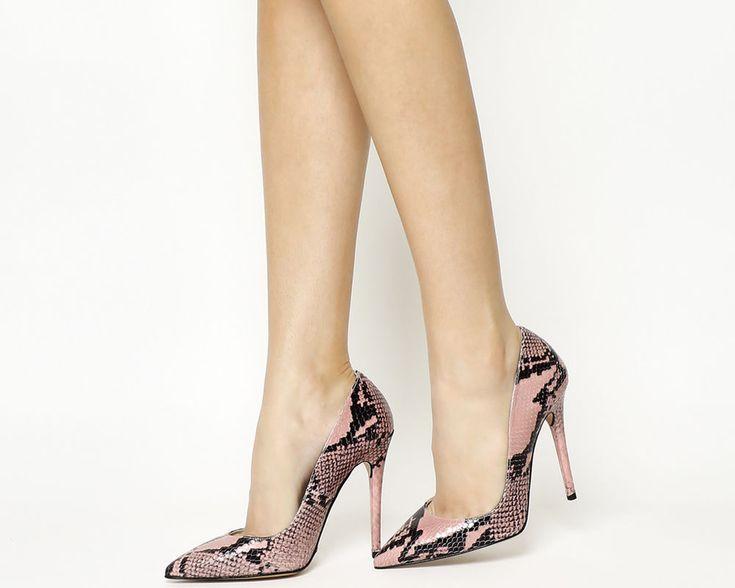 Womens Office Pink Leather Slip On High Heels Uk Size 6 *Ex Display  | eBay