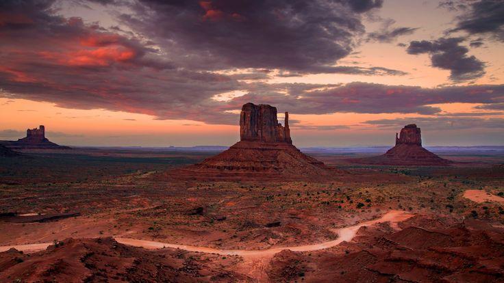 Скачать обои Аризона, вечер, Монументов, пустыня, долина, штат, США, раздел пейзажи в разрешении 1920x1080