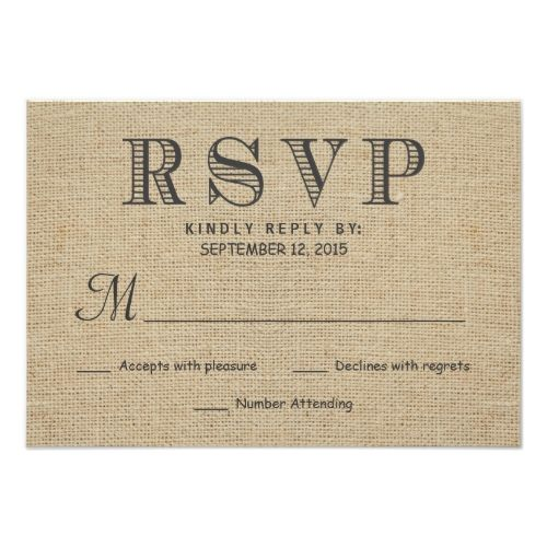 Typography Wedding RSVP RSVP Rustic Country Burlap Wedding Reply Cards