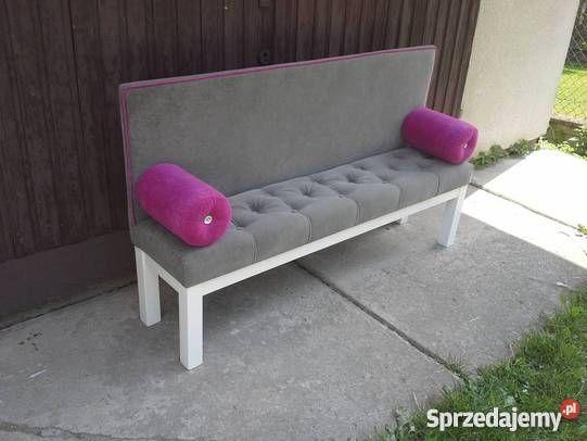 SOFA / ŁAWKA na prostych nogach z pikowanym siedziskiem , wysokie oparcie + dwie poduszki (wałki) proste nogi, pikowane siedzisko, glamour,