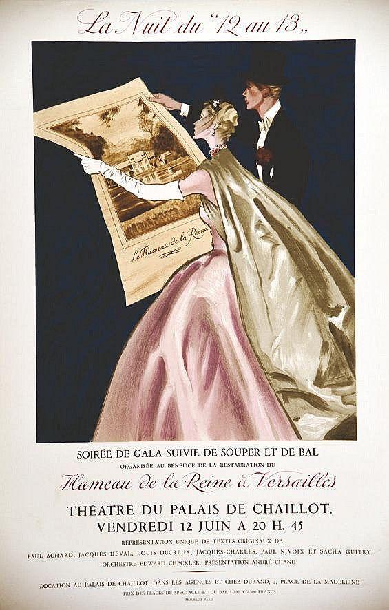 Théâtre du Palais de Chaillot - Soirée de gala suivie de souper et de bal - Hameau de la Reine à Versailles - 1953 - (Maurgne) -