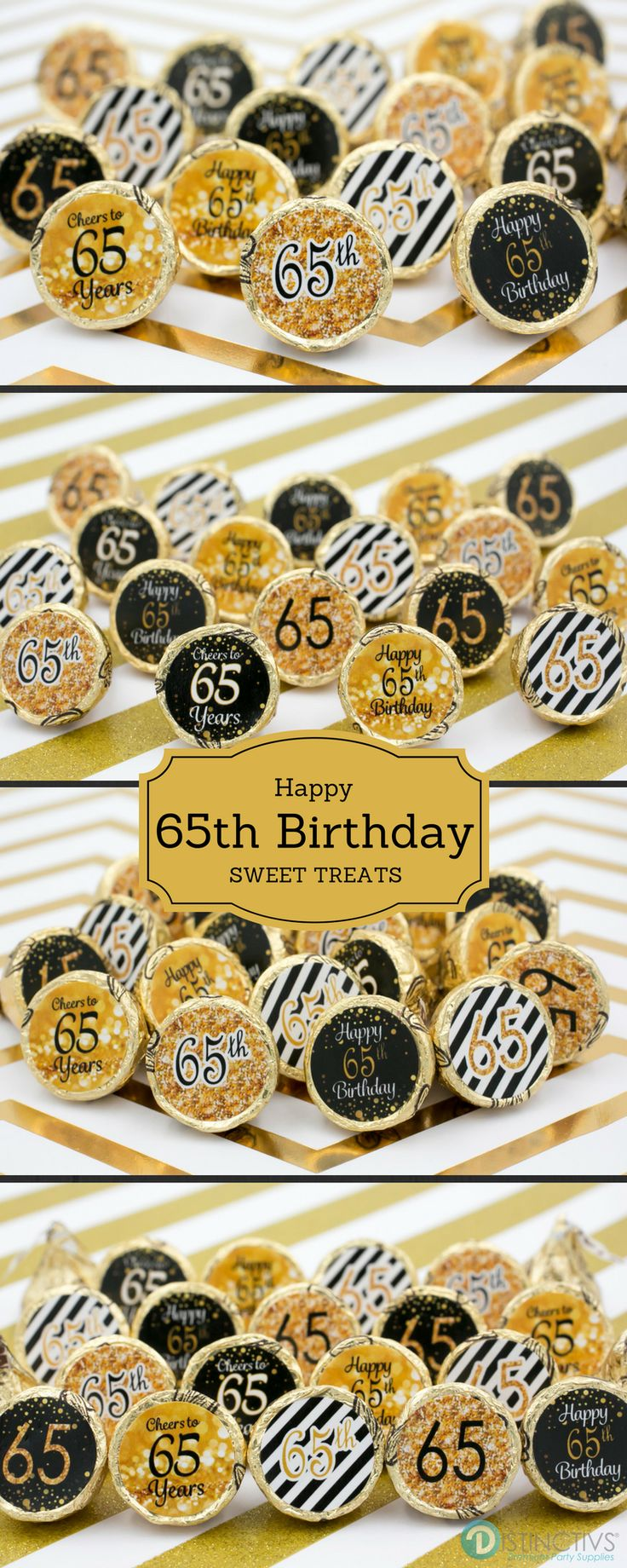 Gold and Black 65th Birthday Stickers make the perfect party favor for all ages.