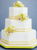 Wedding Cake Gallery/ green orchids with yellow beaded trimming
