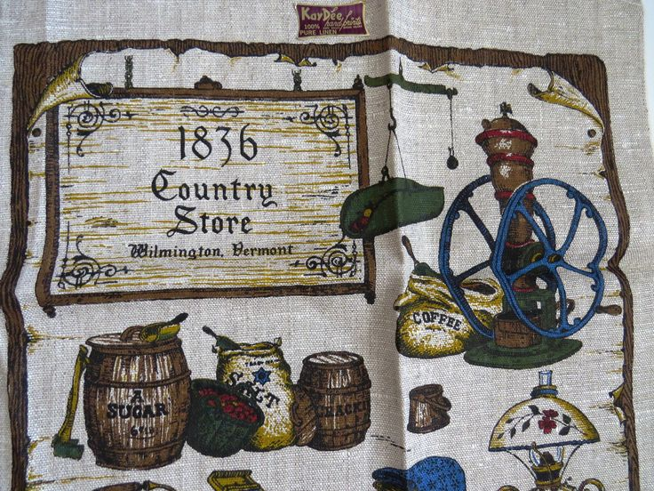 Kay Dee Linen Tea Towel - Country Store Wilmington Vermont - UNUSED with Tags - Vermont Souvenir Dish Kitchen Towel - Gift by shabbyshopgirls on Etsy