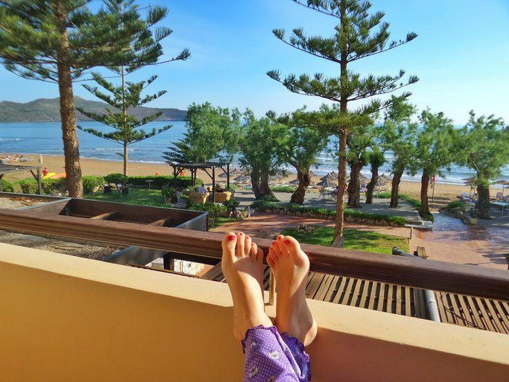 Relax at Hagia Marina beach, Crete