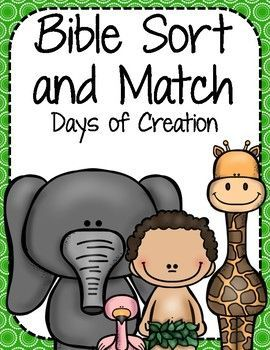 Bible Sort and Match: Days of Creation Help your child learn about the days of creation while practicing matching and sorting skills! Bible Sort and Match includes a matching game, a big and little sort, and a puzzle piece game. This sort and match focuses on the days of creation.