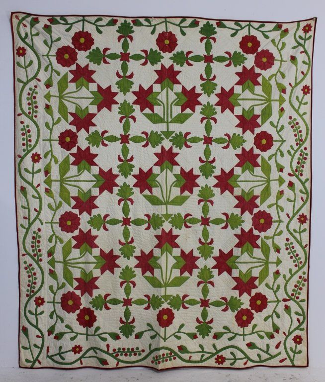 """1860 hand stitched applique quilt """"Peonies"""" pattern, Ohio origin, beautiful red and green colors, cotton seed batting, good condition with some minor wear in areas. 92 x 80, A-1 Auction, Live Auctioneers"""