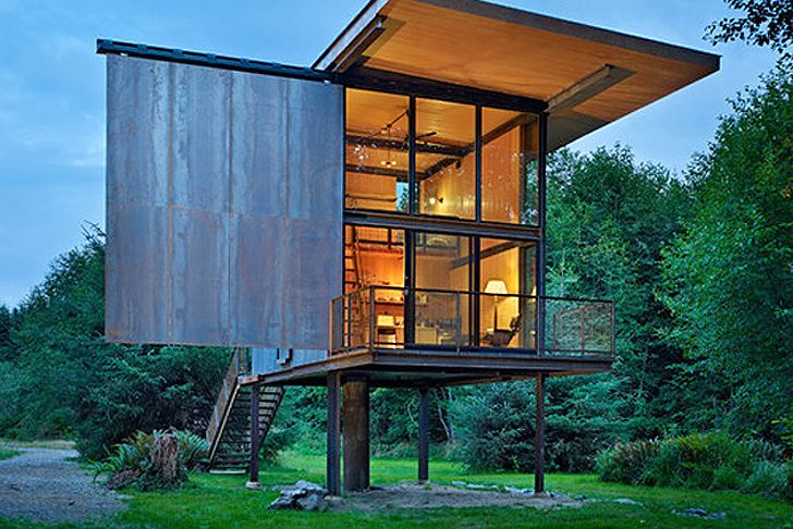 Olson Kundig Architects' Prefab Sol Duc Cabin Rests Lightly on Four Stilts   Inhabitat - Sustainable Design Innovation, Eco Architecture, Green Building