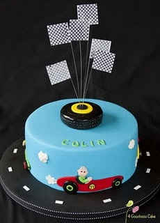 Tyre race car cake