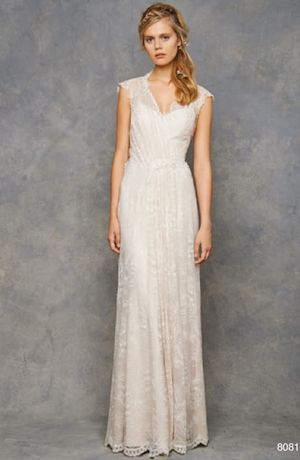Bridal Gowns: David Fielden Sheath Wedding Dress with V-Neck Neckline and Natural Waist Waistline